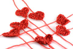 Meny wool hearts on white Stock Image