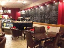Menybräden i en restaurang Royaltyfri Fotografi