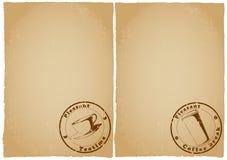 menyn för kaffedatalistgrunge papers tea Arkivbild