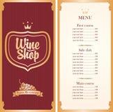 Menyn för vin shoppar royaltyfri illustrationer