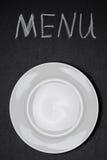 Menytiteln som är skriftlig med krita och, tömmer plattan Fotografering för Bildbyråer