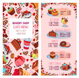 Menyvektormallen för bageri shoppar efterrätter stock illustrationer