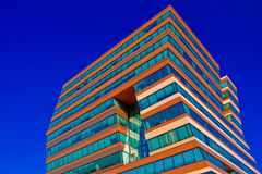 Menzis Office Building, Netherlands. Menzis Office Building, Groningen, Netherlands. Three identical prismatic volumes, each four stories high, are rotated at 90 Royalty Free Stock Photography