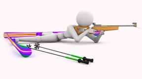 Menzogne dei tiri di sport di biathlon Fotografie Stock Libere da Diritti