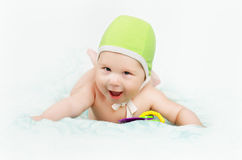 Menzogne sveglia del neonato Fotografia Stock