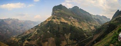Panoramic view of the majestic karst mountains around Meo Vac, Ha Giang Province, Vietnam royalty free stock photos