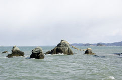 Meoto Iwa the wedded rocks Royalty Free Stock Image