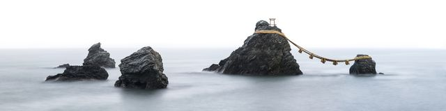 Meoto Iwa, Wedded rocks, Mie Prefecture, Japan stock photography