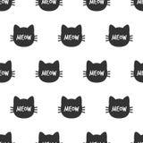 Meow Κεφάλι γατών Χαριτωμένο άνευ ραφής σχέδιο γατών διάνυσμα Στοκ Εικόνα