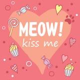 Meow! Με φιλήστε Χρωματισμένο σχεδιάγραμμα με τη φράση διασκέδασης, τις μορφές καρδιών και cat& x27 ίχνος του s Στοκ Εικόνα