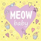 Meow μωρό Χρωματισμένο σχεδιάγραμμα με τη φράση διασκέδασης, Στοκ Φωτογραφία