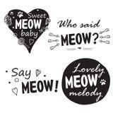 Meow που τίθεται από τέσσερις φράσεις Στοκ φωτογραφία με δικαίωμα ελεύθερης χρήσης