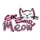 Meow она сказала Печать любовников кота милая в стиле фанк бесплатная иллюстрация