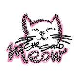 Meow она сказала Печать любовников кота милая в стиле фанк иллюстрация штока