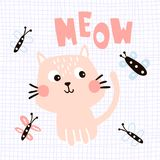 Meow cat. Vector illustration of a cute cat, meow hand lettering text and butterflies Royalty Free Stock Photography