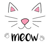 Meow cat. Cat meow vector illustration drawing with writing, black outlines of cat`s head, cat snout with ears, whiskers and paws Stock Photography