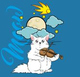 Meow. A cute in love cat plays on a violin in the moonlight. Spring greeting card Royalty Free Stock Images