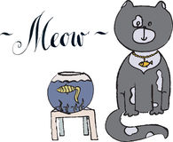 Meow, gray cat with gold fish. Hand drawn, vector Illustration Stock Photography