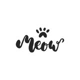 Meow - hand drawn dancing lettering quote isolated on the white background.   Royalty Free Stock Photos