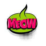 Meow comic text white background. Meow, kitty, cat. Comic text speech bubble balloon. Pop art style wow banner message. Comics book font sound phrase template Royalty Free Stock Image