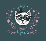 Meow lifestyle - Doodle Kitty. Cute fashion cat in sunglasses - vector postcard. Funny pets character. Trendy hipster skeych. Cute fashion cat in sunglasses Royalty Free Stock Photos
