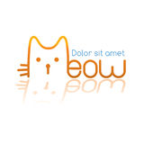 Meow logo. Logo in the form of a cute cat Stock Images