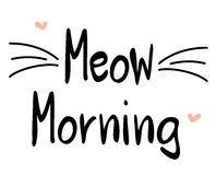 Meow morning hand drawn lettering card slogan illustration. Meow morning hand drawn lettering card slogan vector illustration Stock Photos