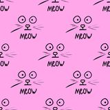 Meow pattern cats a pink background. Vector illustration Stock Photo