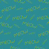 Meow pattern made of fishes. On blue background Stock Photography