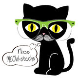 Meow-stache. Black cat with glasses and mustache Royalty Free Stock Photography