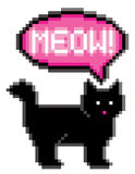Meowing 8-Bit Cat. Meowing black cat illustrated in 8-bit computer gaming style Royalty Free Illustration