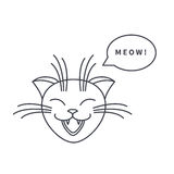 Meowing cat line icon Royalty Free Stock Photography