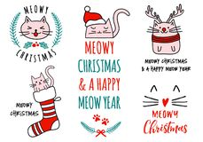 Meowy jul med gulliga katter, vektoruppsättning Royaltyfria Bilder