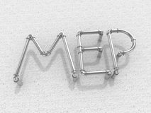 MEP | Mechanical . Electrical . Plumbing. MEP text formed of the Metallic Pipes Stock Photos