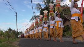 Mepeed is a tradition in Bali stock footage