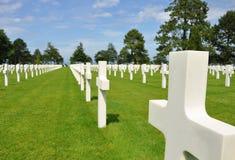 Mer américain de sur de Collevile de cimetière de la Normandie Image libre de droits