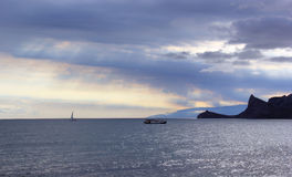 Mer au coucher du soleil Photographie stock