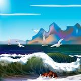 Mer avec des vagues et des montagnes illustration stock