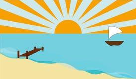Mer avec le bateau Photographie stock libre de droits