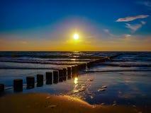 Mer baltique de coucher du soleil Photos libres de droits