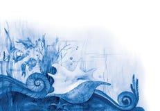Mer-bas bleu illustration stock