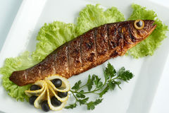 Mer Bass On The Grill Citron, laitue, olives Plaque blanche Photo stock