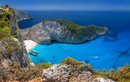 Plage de Navagio, île de Zakinthos, Grèce Images libres de droits