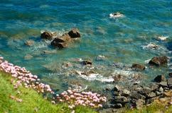 mer bleue de l'Irlande de falaises images stock