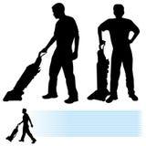 mer cleaner man som använder vakuum stock illustrationer