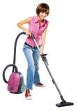 mer cleaner vakuumkvinnabarn Arkivfoto
