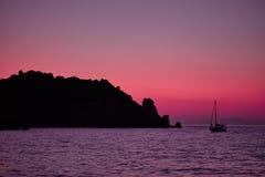 Mer d'île de Giglio au crépuscule Image libre de droits