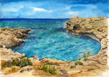 Mer d'aquarelle de la Chypre photo libre de droits