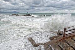 Mer dans la tempête sur des roches Images stock