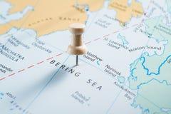 Mer de Béring sur une carte photographie stock libre de droits